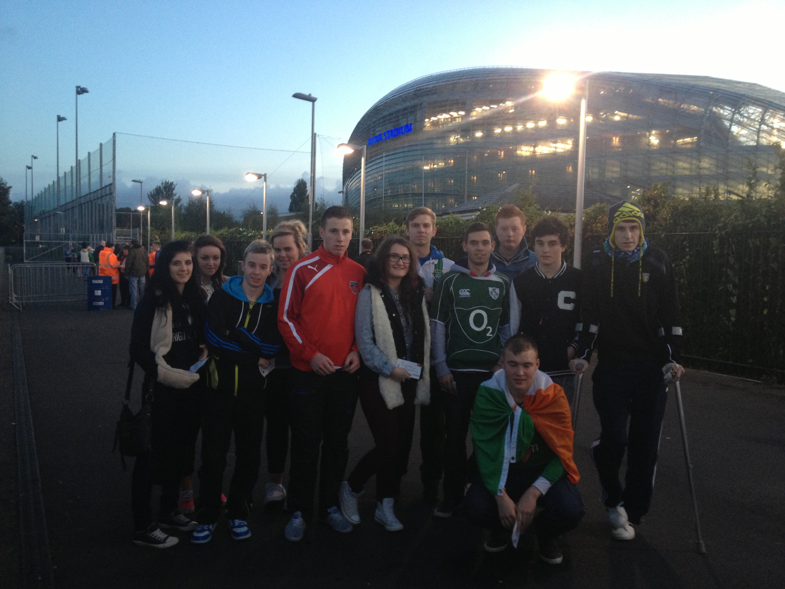The group pictured outside the Aviva en route to the game.