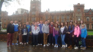 The group pictured outside Queens University