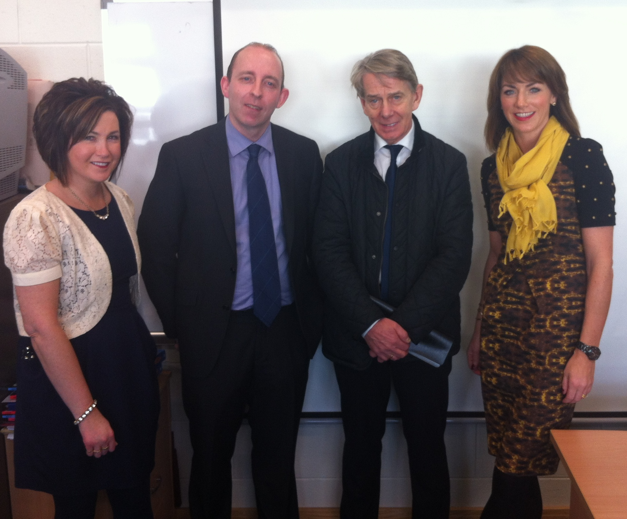 Owner of Mc Elhinney's Department Stores Mr John Mc Elhinney pictured with Mr. Thompson, Principal, Ms Boland, Deputy Principal and Ms Mc Geehan.