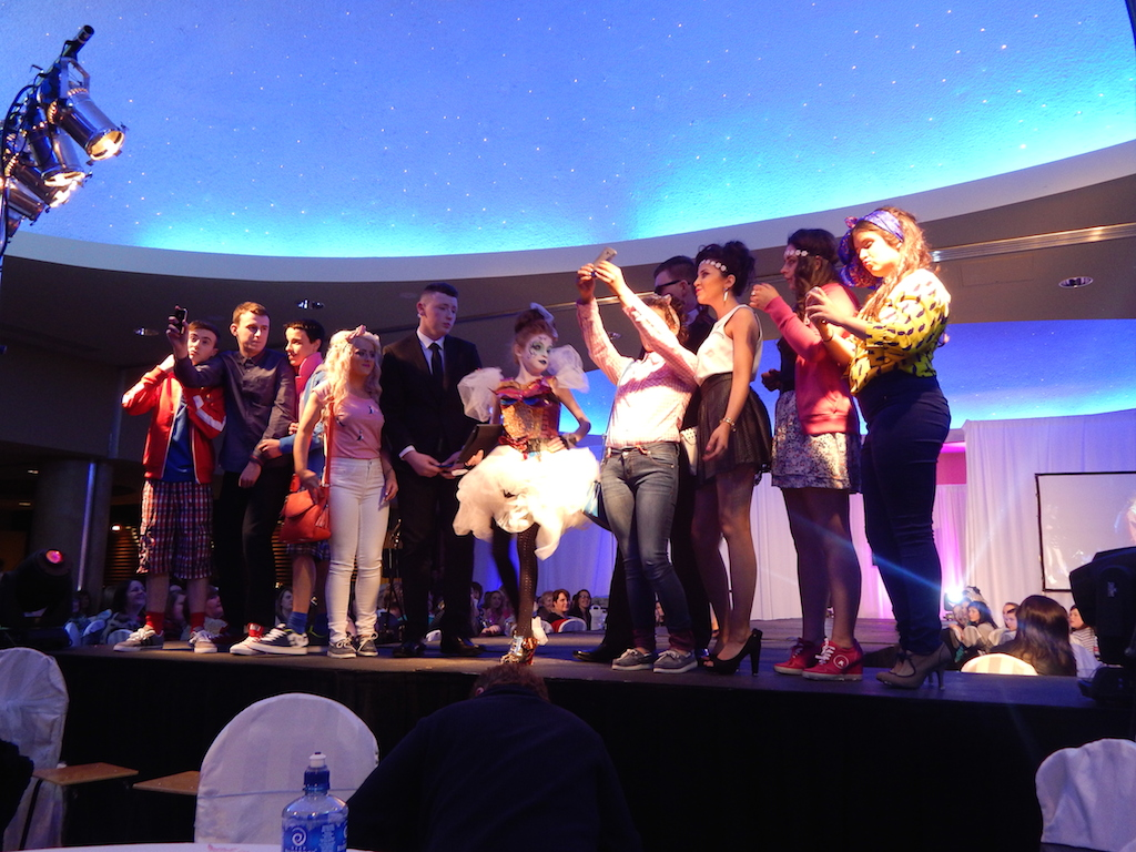 But first, Let me take a selfie...4th year students kick off the Fashion Show in style!
