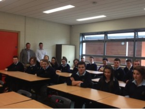 Mr Daniel Mc Cafferty pictured with Mr White and a selection of 5th year and PLC students recently