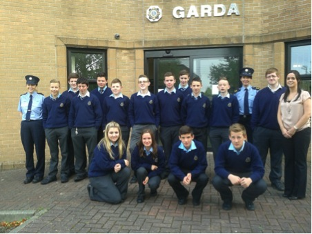 The O Casey class pictured with their teacher Ms Gallagher outside the Garda Station in Letterkenny