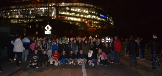 The group pictured outside the Aviva