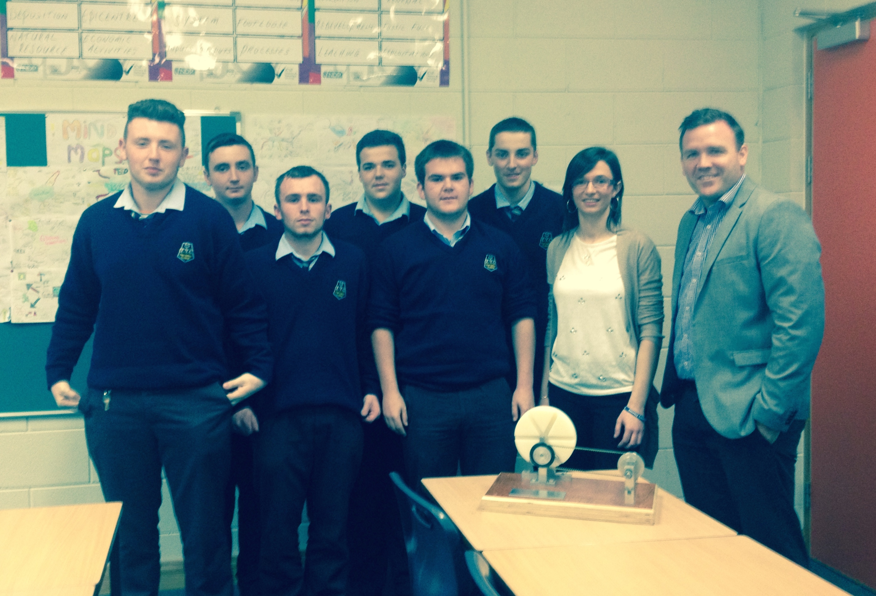 Lisa Mc Cafferty pictured with senior students Ryan Lindsay, Conan Gallagher, Kyle Gallagher, Luke Gillespie, Michael Mc Colgan and Michael Mc Menamin. Also pictured is Mr White