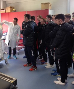 LYIT Sports tutor Danny Mooney giving a demonstration to the Joyce class during the visit.