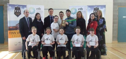 Aire, overall winners for 2018 with the judges and their teacher Ms Doherty